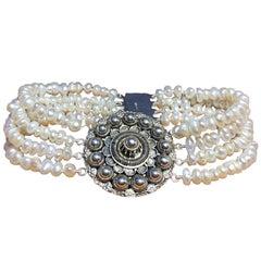 Bracelet Silver, Antique Dutch Traditional Pearl Bracelet, 1900