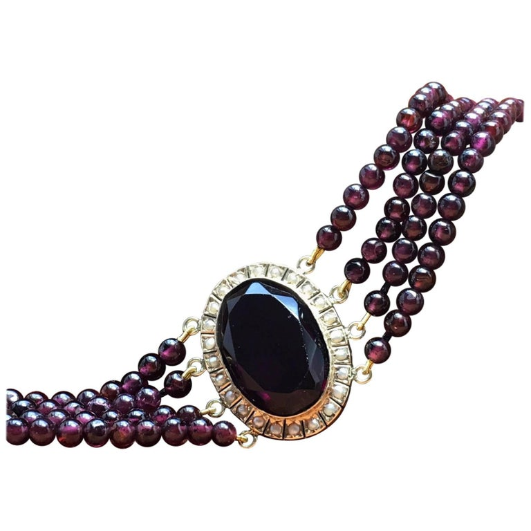 Treasurehuntworld Antique Pink Gold Bracelet Pearls Four Strand Garnet For Sale