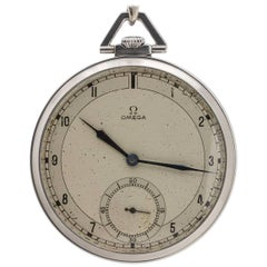 Omega stainless steel 12-S Industrial Design Manual Wind Pocket watch, c1935