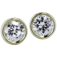 H & H 0.38 Carat Diamond Bezel-Set Stud Earrings