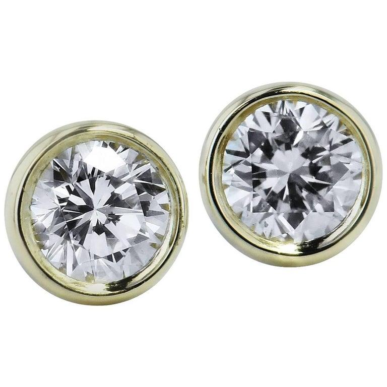 H & H 0.38 Carat Diamond Bezel-Set Stud Earrings