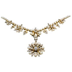 Victorian Seed Pearl Diamond Gold Necklace