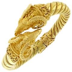 Zolotas Double Ram Head Hinged Gold Bangle