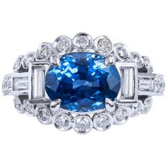 H & H 3.74 Carat Oval Ceylon Blue Sapphire and Diamond Ring