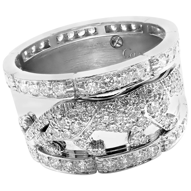 Cartier Walking Panther Panthere Diamond White Gold Band Ring