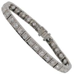 Antique Straight Line Diamond Platinum Bracelet