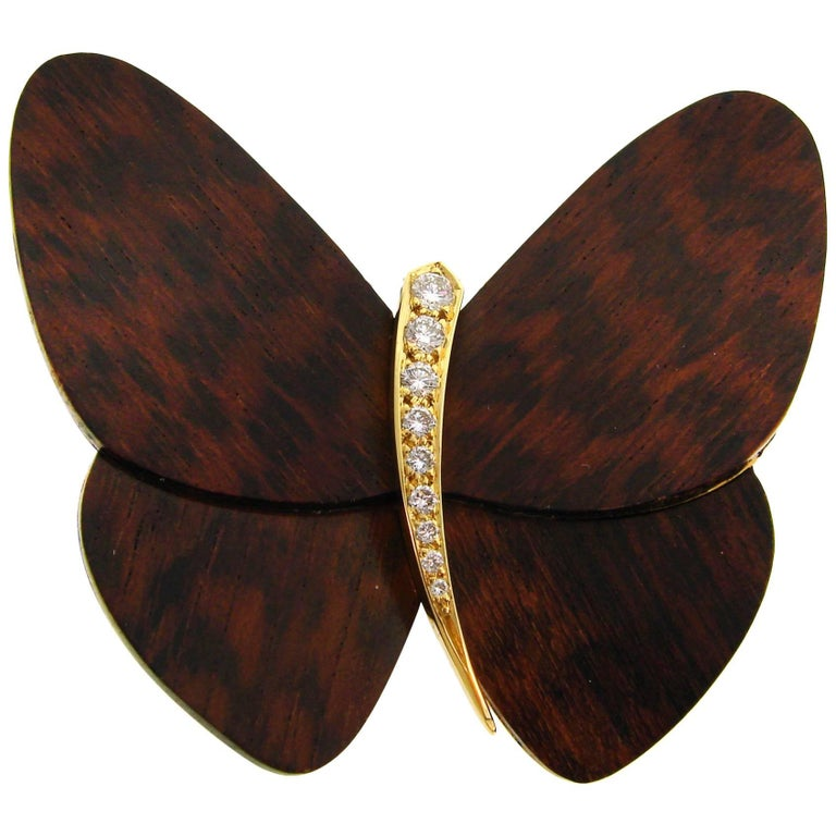 Van Cleef & Arpels Wood Diamond Yellow Gold Butterfly Pin Brooch Clip VCA For Sale