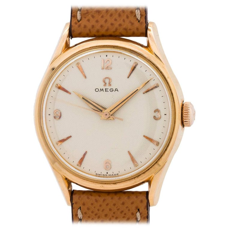 Omega Rose Gold Waffle Dial Manual Wind Dress Wristwatch, circa 1955 For Sale
