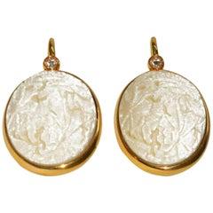 Pomellato Carved White Coral Diamond Gold Earrings