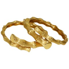 Unusual Pair of 1970s Gold Bamboo Bypass Bracelets