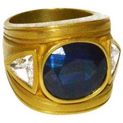 Barry Kieselstein-Cord Sapphire Diamond Gold Ring