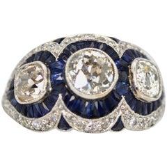 Sapphire Diamond Ring 3.28 Carat
