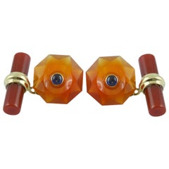 Gold Cufflinks in Carnelian with Sapphires