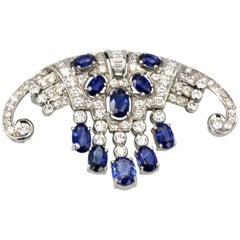 Art Deco Platinum Sapphire Diamond Fringe Brooch 6.08 Carat, circa 1935