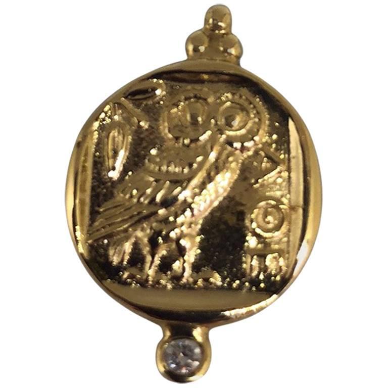 "18 Karat Gold and Diamond ""Athena"" Coin Reproduction Pendant"