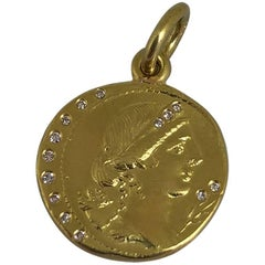 18 Karat Gold and Diamond Coin Pendant