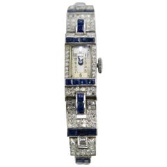 Ladies Platinum Diamond Sapphire Bracelet Wristwatch, circa 1935