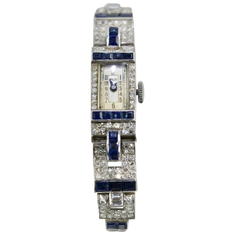 Ladies Platinum Diamond Sapphire Bracelet Wristwatch, circa 1935