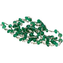 Ladies 18 Karat Diamond and Emerald Long Beaded Chain Necklace 28.32 Carat