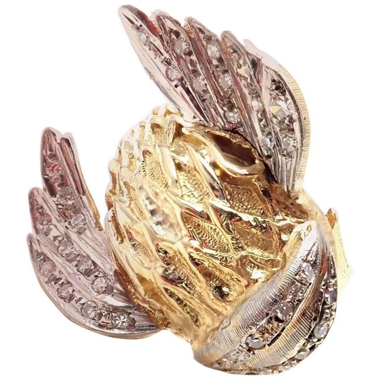 Illias Lalaounis Greek Diamond Fish Yellow Gold Band Ring