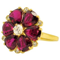 Fine Floral Ruby and Diamond Ring, 7.52 Carat in Rubies
