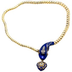 Antique Victorian Gold Diamond Enamel Snake and Heart Necklace