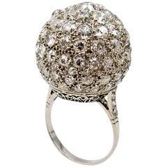 Platinum Old European Cut Diamond Pave Ball Ring