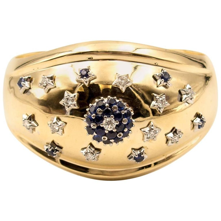 Retro Gold Diamond Sapphire Cuff Bracelet