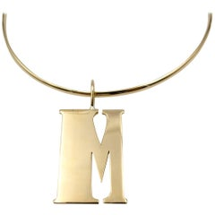 "1950s Gold ""M"" Initial Necklace"