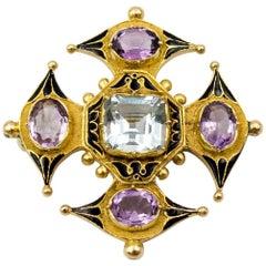 Antique Victorian Enamel Aquamarine Amethyst Gold Maltese Cross Pin