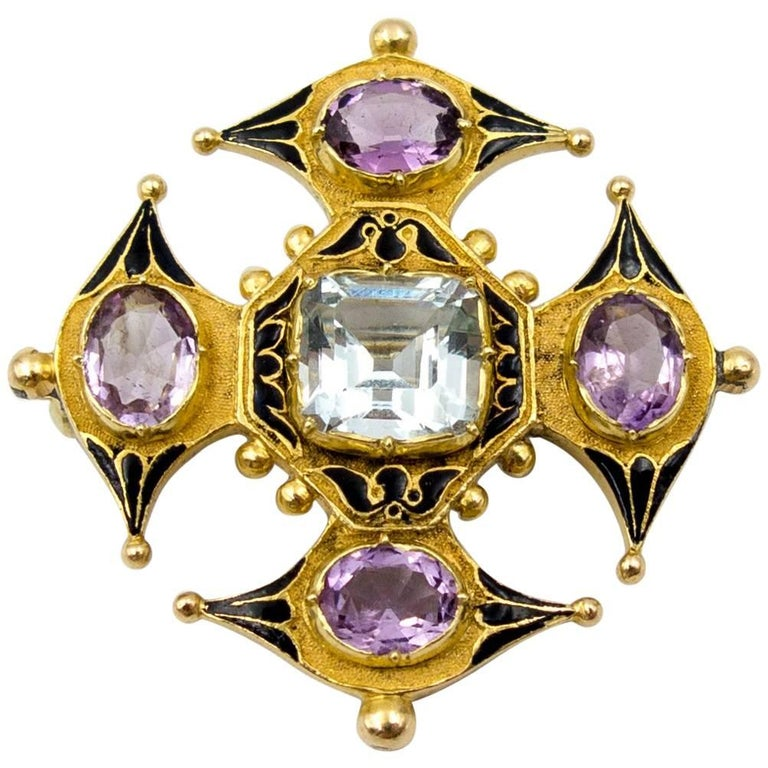 Antique Victorian Enamel Aquamarine Amethyst Gold Maltese Cross Pin