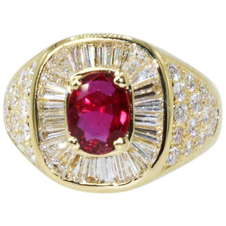 1.20 Carat Natural Ruby and Diamond Ring For Sale