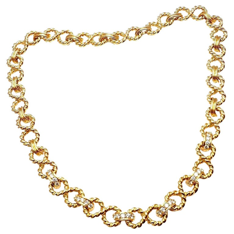 Tiffany & Co. Diamond Figure Eight Rope Yellow Gold Link Necklace For Sale