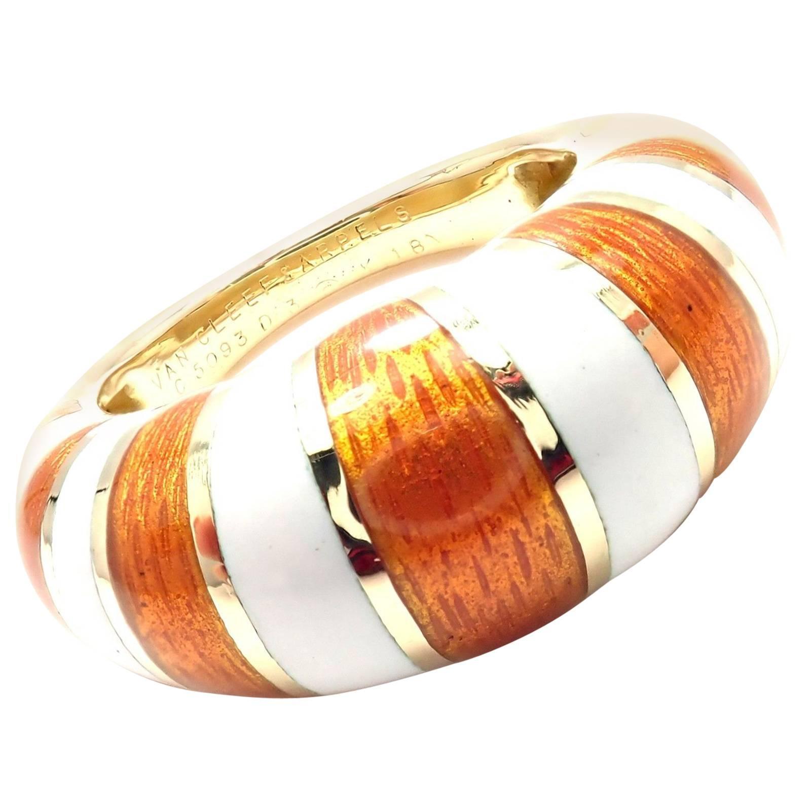 Van Cleef & Arpels Vintage Enamel Yellow Gold Band Ring