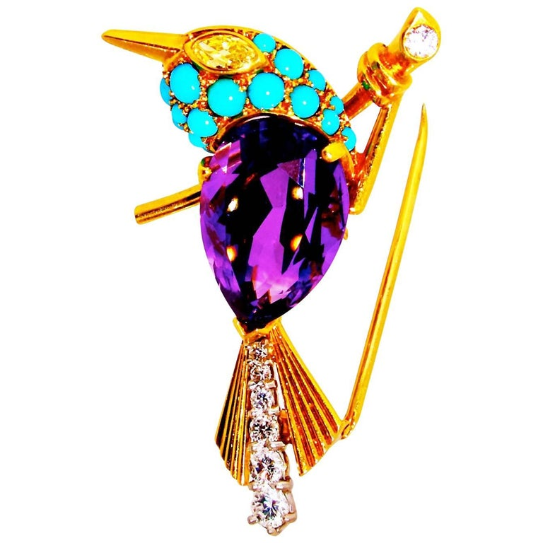 Cartier 1960s Amethyst Diamond Turquoise Gold Sparrow Pin For Sale