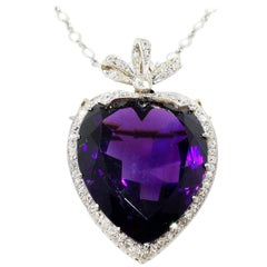 Antique Diamond and Amethyst Heart Pendant Brooch