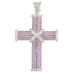 Theo Fennell White Gold Pink Sapphire and Diamond Cross Pendant