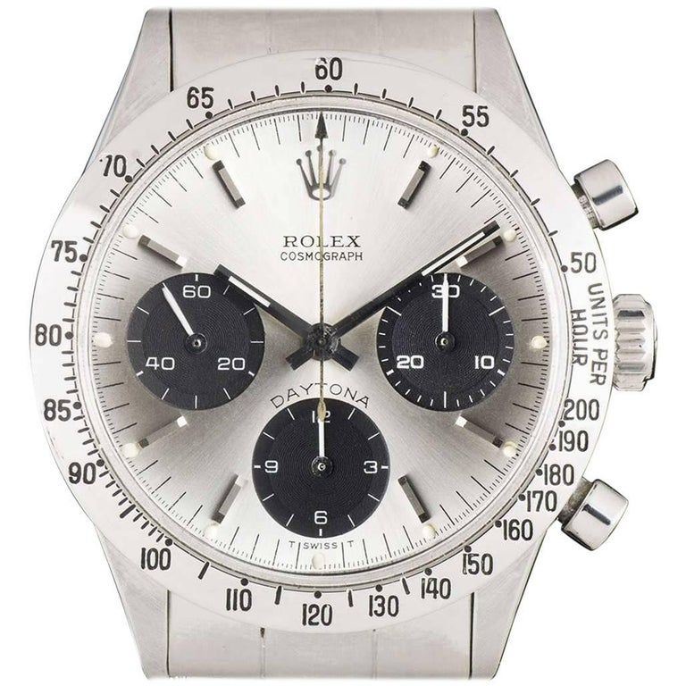 Rolex Stainless Steel Vintage Daytona Cosmograph Manual Wind Wristwatch Ref 6239