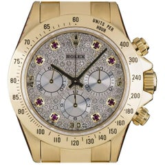 Rolex Yellow Gold Zenith Diamond Ruby Dial Cosmograph Daytona Automatic Watch