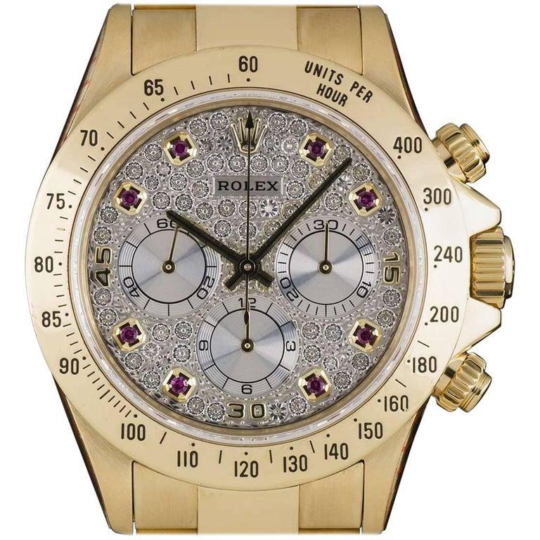 Rolex Yellow Gold Zenith Diamond Ruby Dial Cosmograph Daytona Automatic Watch