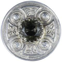 Antique Victorian Scottish Citrine Brooch Silver, circa 1860