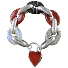 Antique Scottish Agate Bracelet Heart Padlock, circa 1860
