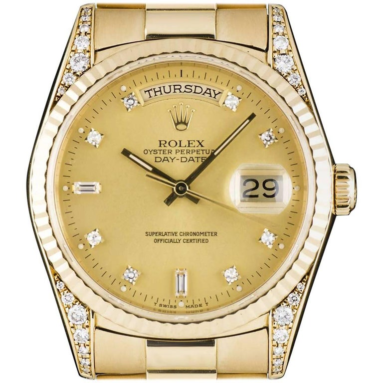 Rolex Yellow Gold Diamond Set Champagne Dial Automatic Wristwatch Ref 18338