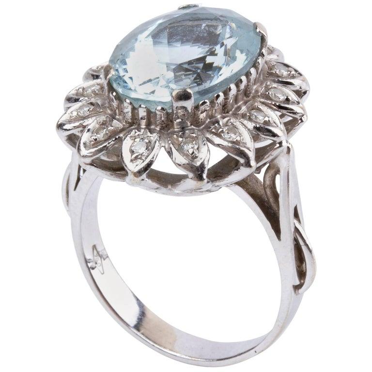 Aquamarine and Diamond Gold Ring