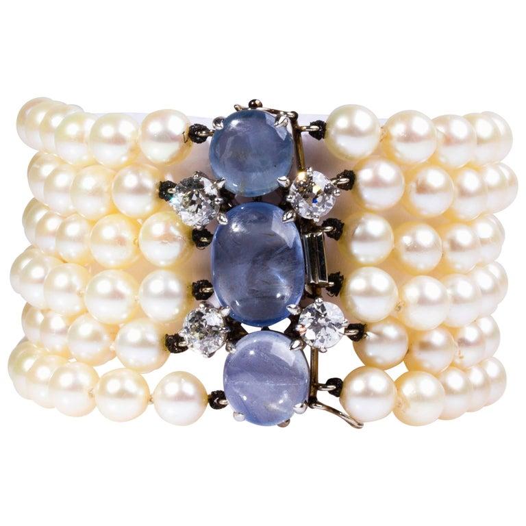 Pearl Sapphire and Diamond Bracelet