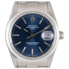 Rolex Stainless Steel Blue Dial Date Automatic Wristwatch