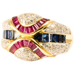 1960 Ansuini Diamond Ruby Sapphire Yellow Gold Band