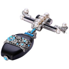 Art Deco Chinoiserie Platinum Diamond Onyx Pearl Turquoise Brooch Watch