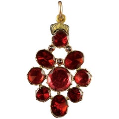 Antique Georgian Flat Cut Garnet Pendant 18 Carat Gold, circa 1770