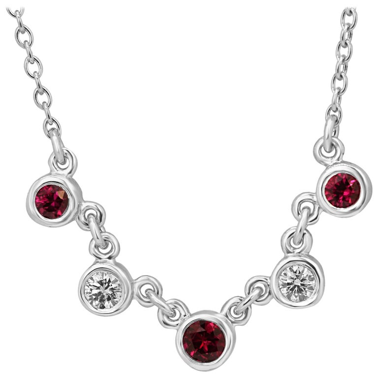 Ruby Diamond White Gold Necklace